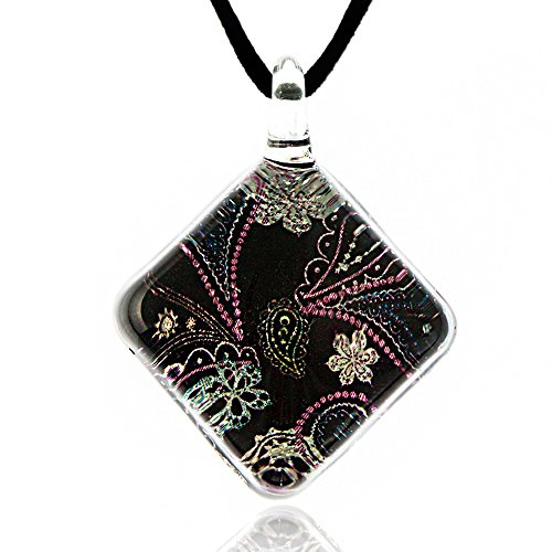 Venetian Glass Square Pendant (Hand Blown Venetian Murano Glass Abstract Black Pastel Paisley Pattern Square Necklace, 17-19 inches)