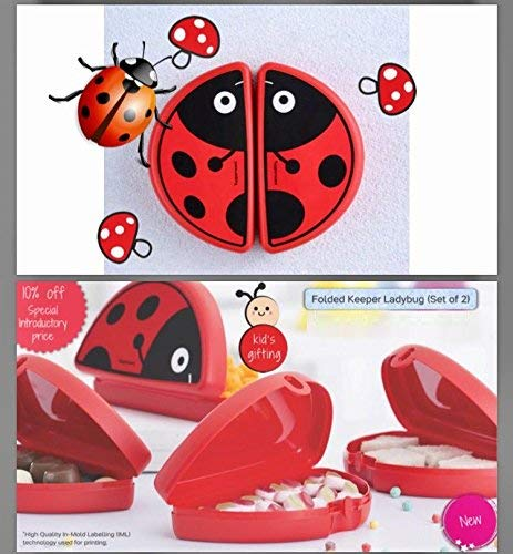 Tupperware Lady Bug Lunch Box Set, 2 Pieces, Red