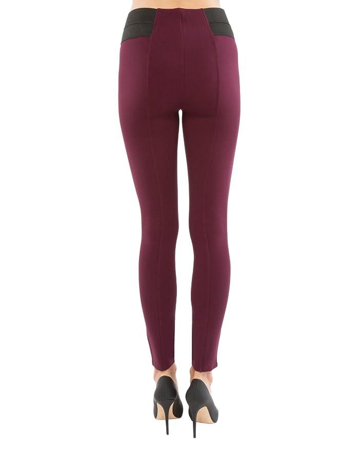 4802d6c1bae6d Sentimental New York Plus Size Elastic Inset Ponte Pull-on pant Rayon Nylon  Spandex Burgundy 1X at Amazon Women s Clothing store