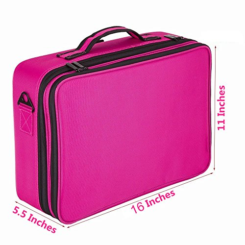 FLYMEI Professional Makeup Case 3 Layer Cosmetic Organizer 16'' Make Up Artist Storage with Shoulder Strap and Adjustable Divider, Pink by FLYMEI (Image #5)