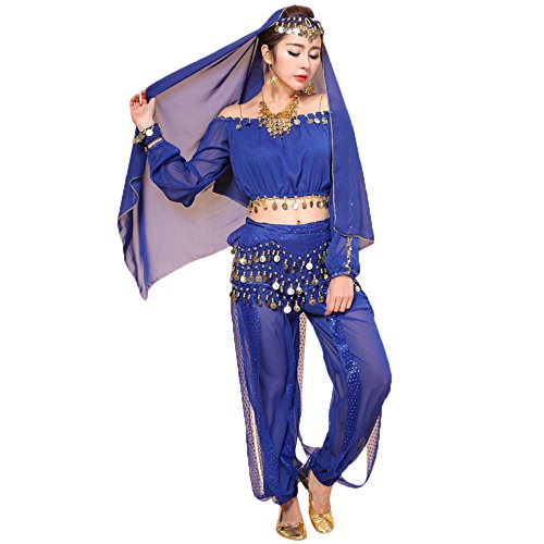 (Belly Dance Costume Bollywood Dress - Chiffon Indian Dance Outfit Halloween Costumes with Head Veil for Women/Girls(Blue,Free)