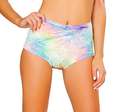 Adult Tie Dye Short (J. Valentine Women's High-Waist Short, Pastel Tie Dye, Large/X-Large)