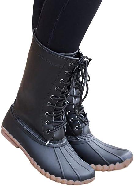Amazon.com: Botas estilo pato, con cordones, para mujer ...
