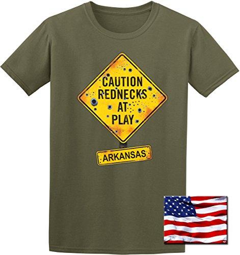 State of Arkansas Redneck Souvenir T-Shirt & Exclusive American Flag Sticker (3X, Olive Green)