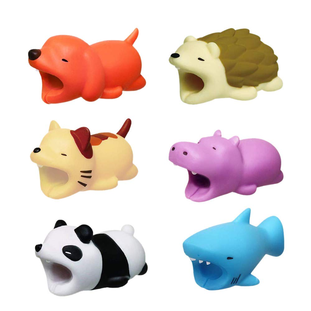 kabelbruch Schutz Cable Bite, 12shage Cute Animals Kabel Bite Cable Biss Protector Saver fü r iPhone Cord (6pcs) 0313XGHJIS