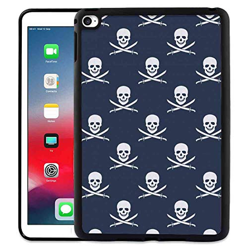 Case for iPad 6 [2014] & iPad 6 (2014) [9.7 Inch] Pirates Jolly Roger Pattern in Classic Nautical Colors Dangerous Halloween Character Dark Blue White]()