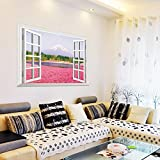 Ghaif A wide range of 3D simulation landscape at the windows of the living room bedroom school dorm posters sofa TV wall mount A pink flower sea 85cm57cm large