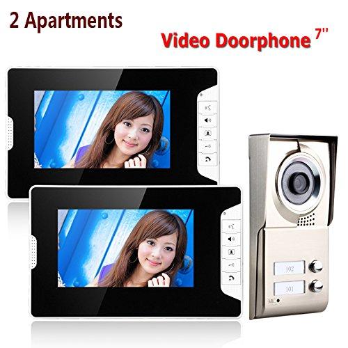 上品 7インチtft 2アパートビデオドア電話インターホンシステムirカットhd 1000 3departments tvlカメラドアベルカメラで2ボタン2モニター防水 まとめ買い特価 B07T1PTKCJ