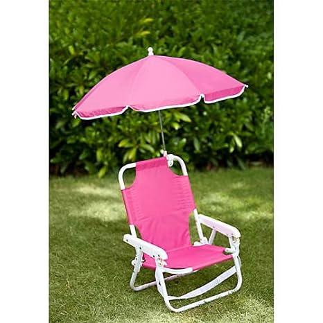 Set de silla de playa con sombrilla para niños, color rosa ...
