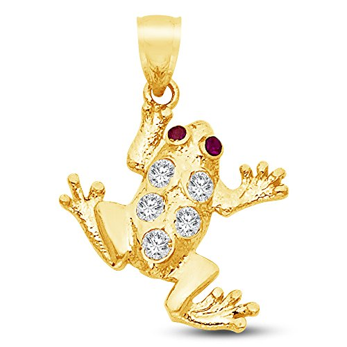 - 14K Yellow Gold Frog Pendant Charm with CZ Cubic Zirconia Accents (20x20 mm)