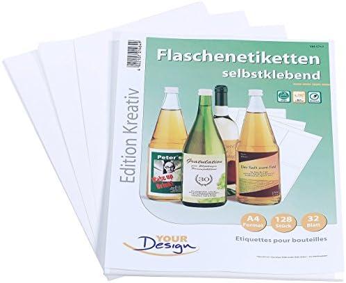 Your Design Weinetiketten: 128 Inkjet-Flaschenetiketten 10x13 cm naturweiß/wischfest (Flaschenetiketten mit Banderole)