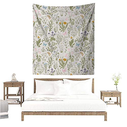 Agoza Floral Wall Tapestry for Bedroom Vintage Garden Plants with Herbs Flowers Botanical Classic Design Living Room Background Decorative Painting 60W x 80L INCH Beige Reseda Green Pink Blue