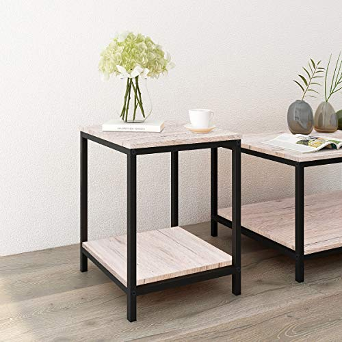 BOFENG Small Side Table Coffee Table Heavy Duty Iron Snack Tables End Desk Nature Wood Look Accent Black Metal Frame (Nature Table)