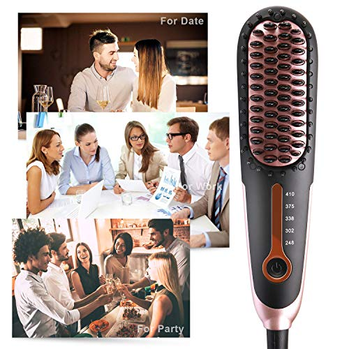 Straightening Brush 3.0, Buture Mini Hair Straightener Brush Ceramic Heating Ionic Hair Straightening Brush for Travel with Anti-scald MCH 110-240V Auto Shut Off Temperature Lock Black and Pink by BuTure (Image #7)