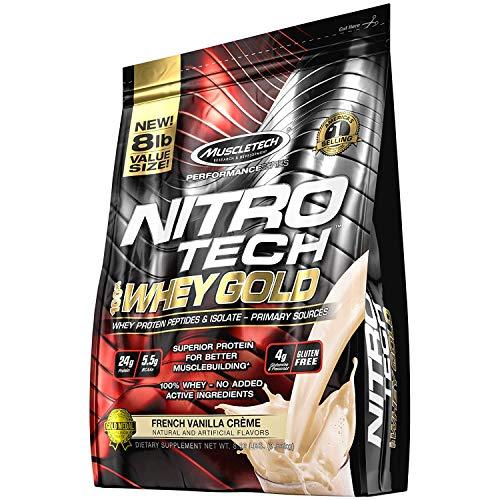 MuscleTech NitroTech 100% Whey Gold, Whey Isolate & Peptides, French Vanilla Cream, 8 Pound