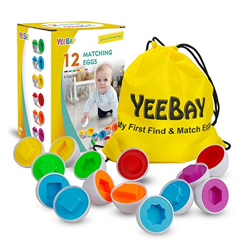 YEEBAY Matching Eggs Set - STEM Toy Educational Toy for Learning Colors & Shapes - Gift for 18 Months up, 2, 3 Years Old Kids Toddler Boys Girls - 12 Easter Eggs