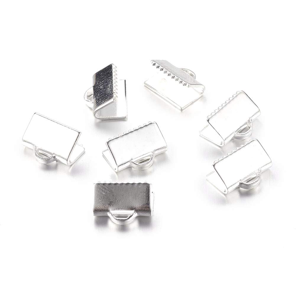 Fashewelry 100Pcs Stainless Steel Rectangle Crimp Ribbon Ends 7.5x9mm Clip Clamp Cord Caps for DIY Jewelry Craft Making