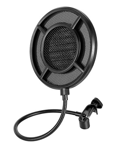 Pop Filter 6-Inch for Blue Yeti Microphone,SOONHUA Double-Layer Metal Mesh Professional Studio Mic Pop Shield with 360 Degree Flexible Gooseneck Screw Clamp for Recording Vocals