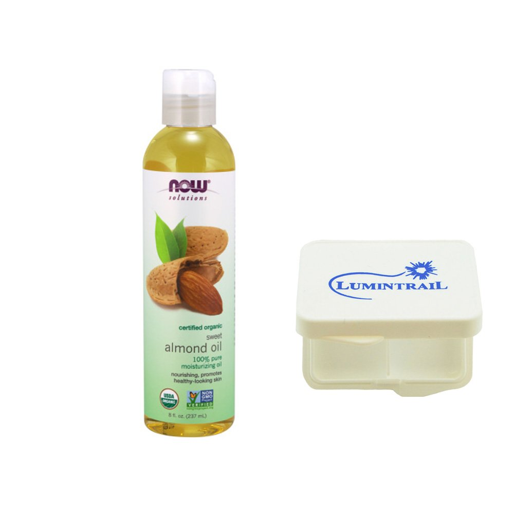 NOW Foods Sweet Almond Oil Pure Organic 8 oz Moisturize and Nourish Skin Bundle with a Lumintrail Pill Case