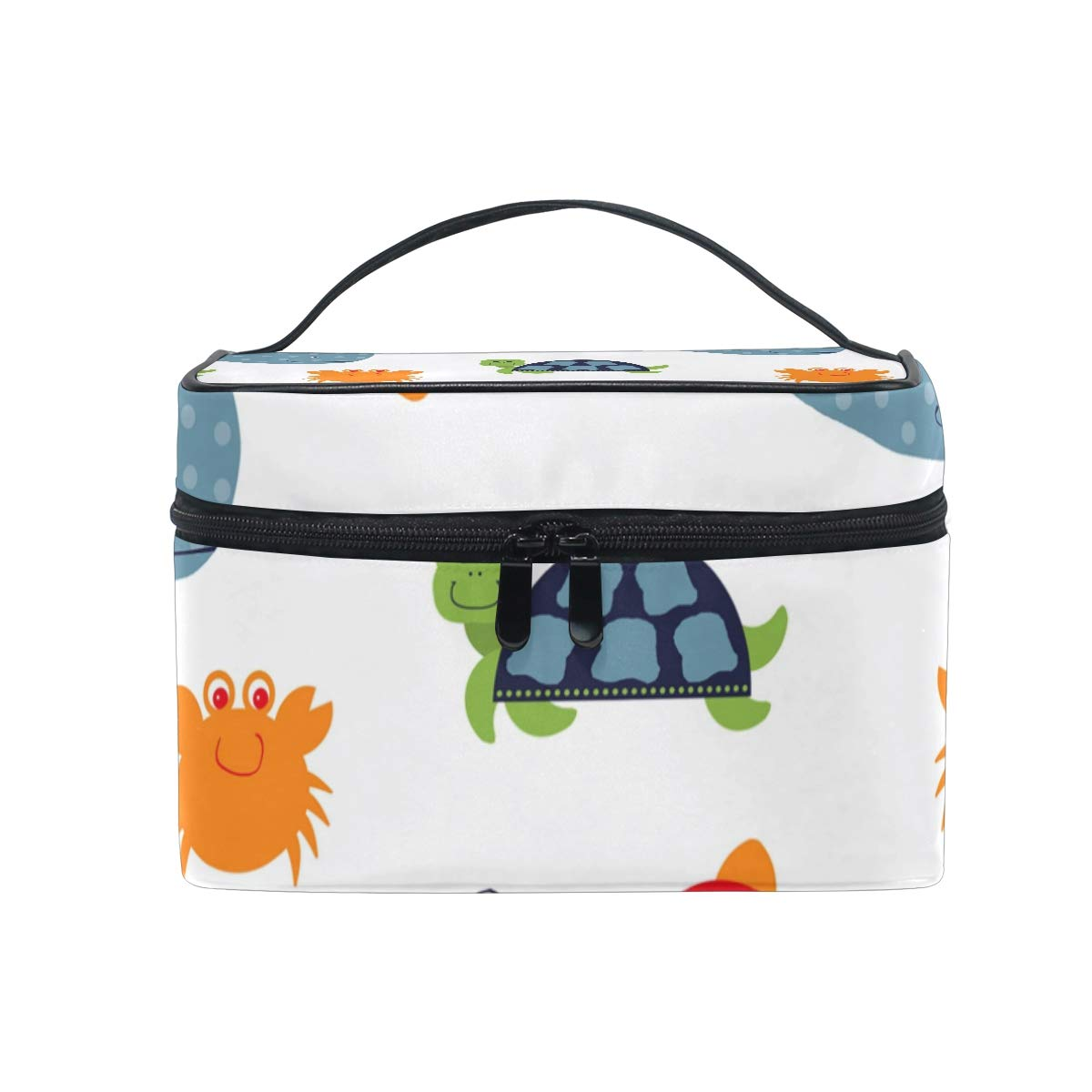 LORVIES Sea Creatures Cosmetic Bag Canvas Travel Toiletry Bag Top Handle Single Layer Makeup Bag Organizer Multi-function Cosmetic Case for Women