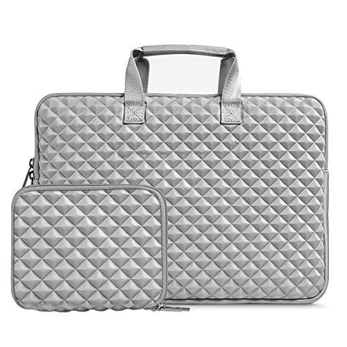 MOSISO Laptop Sleeve Compatible 13-13.3 Inch MacBook Pro, MacBook Air, Notebook Computer, Shock Resistant Diamond Foam Water Repellent Neoprene Carrying Briefcase Handbag Case Cover Bag, Gray