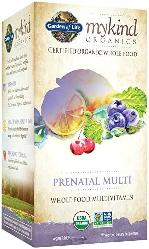 Garden of Life Organic Prenatal Multivitamin Supplement with Folate - mykind Whole Food Prenatal Vitamin, Vegan, 180 Tablets