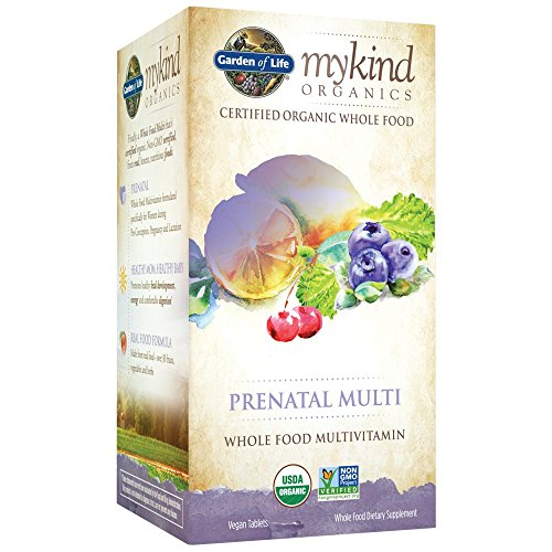 Garden of Life Organic Prenatal Multivitamin Supplement with Folate – mykind Whole Food Prenatal Vitamin, Vegan, 180 Tablets