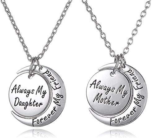 - Mother's Day Jewelry Gifts Mother & Daughter Necklace Set for 2 - ''Always My Mother/Daughter Forever My Friend'' Unique Mom/Daughter Matching Moon Pendant Necklaces for Best Mom Ever (Silver Tone)