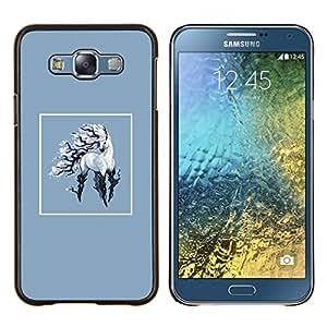 Qstar Arte & diseño plástico duro Fundas Cover Cubre Hard Case Cover para Samsung Galaxy E7 E700 (Unicornio)