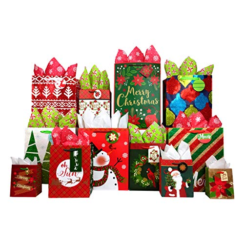 Set of Christmas Gift Bags and Tissue Paper (12 Bags + Tissue, Traditional Holiday) (Traditional Tissue)