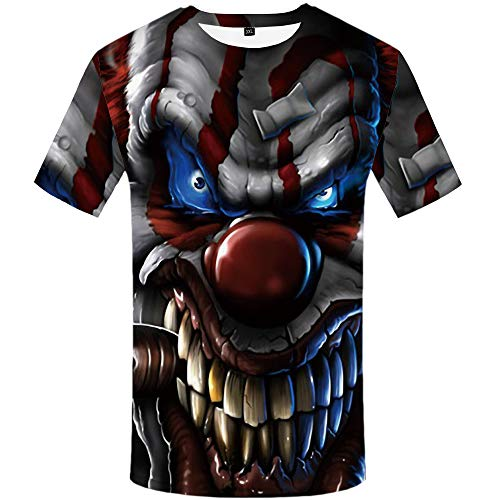 (KYKU Joker T Shirts for Men Clown Tshirt 3D Printed Shirts Skull Short Sleeve(X-Large) )