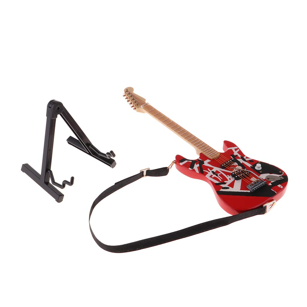 1//6 Dollhouse Miniature Wooden Guitar With Strap /& Stand Dolls Accessory #A