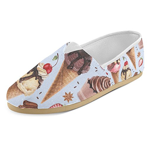 InterestPrint Women's Loafers Classic Casual Canvas Slip On Fashion Shoes Sneakers Mary Jane Flat Cute Ice Cream Ice Cream Shoes Women