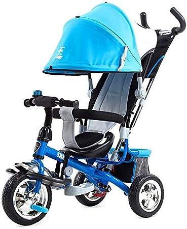 XIUYU Bebé del Triciclo 4 en 1, Pedal del Triciclo 4 en 1 con extraíble Padres empujan a Barra de la manija de Empuje Infantil del bebé Junto/Pedal niños Triciclo