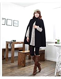 Women Wool Casual Warm Loose Cape Autumn Winter Coat Woolen Polyester Blend Jacket W1043C
