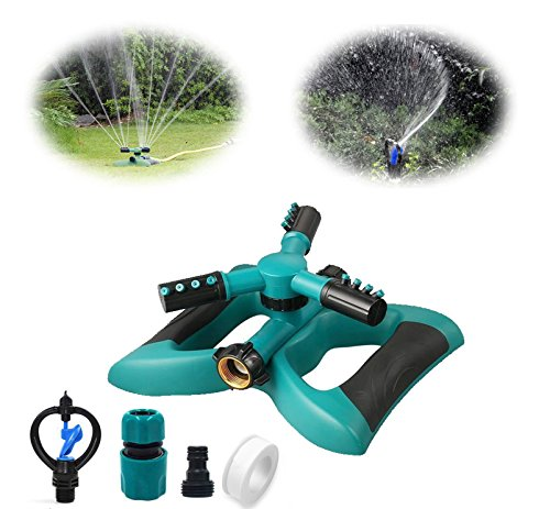 - Cybbo Lawn Sprinkler, Automatic 360 Rotating Adjustable Garden Water Sprinklers Lawn Irrigation System Covering Large Area with 3 Arm Sprayers and Leak Free Durable (lawn-sprinkler-Yixin)
