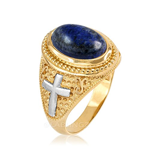 14K Two-Tone Yellow Gold Lapis Lazuli Christian Cross Ring (8.25) - 14k Lapis Cross