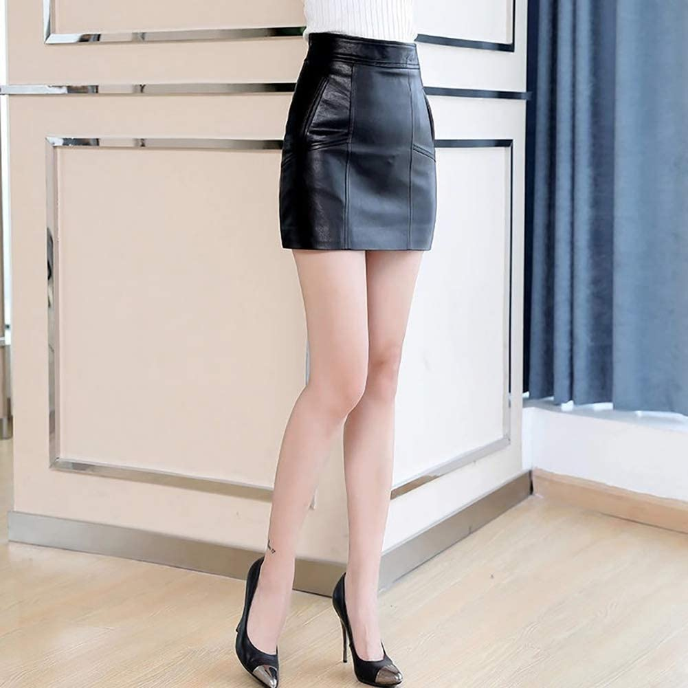 JIAZIV Womens Faux Leather High Waist Bodycon Zipper Short PU Skirt