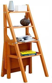 ZCF Escaleras de mano Madera Escaleras Silla, Plegable Multifuncional 4-Paso Heces Cocina Práctica Cubierta Escalera Escaleras de Libros Flores de Validez 3 Colores (Color : Style2): Amazon.es: Bricolaje y herramientas