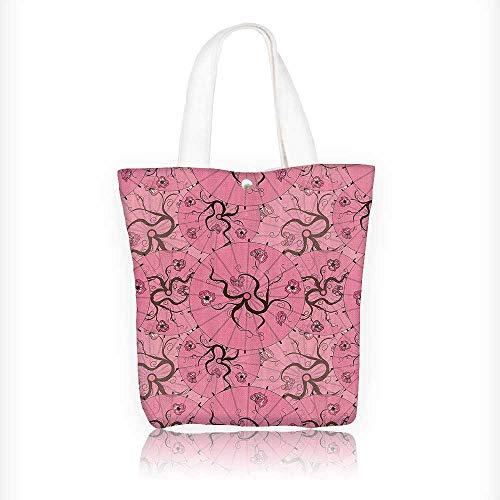 Canvas Tote Bag Sakura Tree Branches Featured Traditial Japanese Oil Paper Umbrella Hanbag Women Shoulder Bag Fashion Tote Bag W16.5xH14xD7 (Prima Paintables Paper)