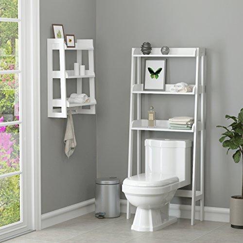 UTEX 3 Shelf Bathroom Organizer Over The Toilet Spacesaver White Finish