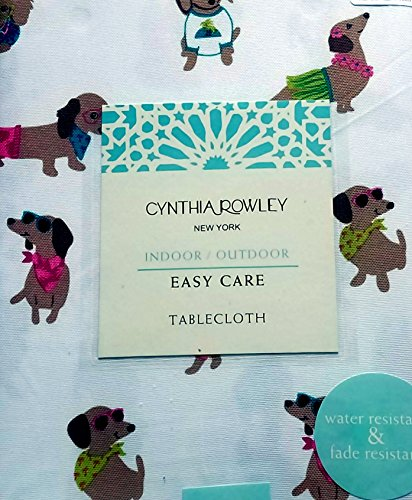 Cynthia Rowley Tablecloth Indoor Outdoor 60 x 84 Dogs Puppies in bathing suits and sunglasses from Cynthia Rowley