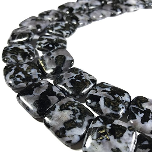 [ABCgems] Rare Madagascan Black Tourmaline in Feldspar (Exquisite Matrix) 20mm Smooth Square Beads For Jewelry Making