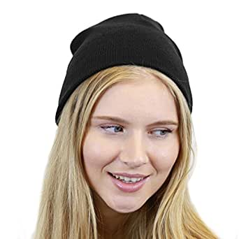 THE HAT DEPOT Made In USA Skull Beanie Hat (Black)