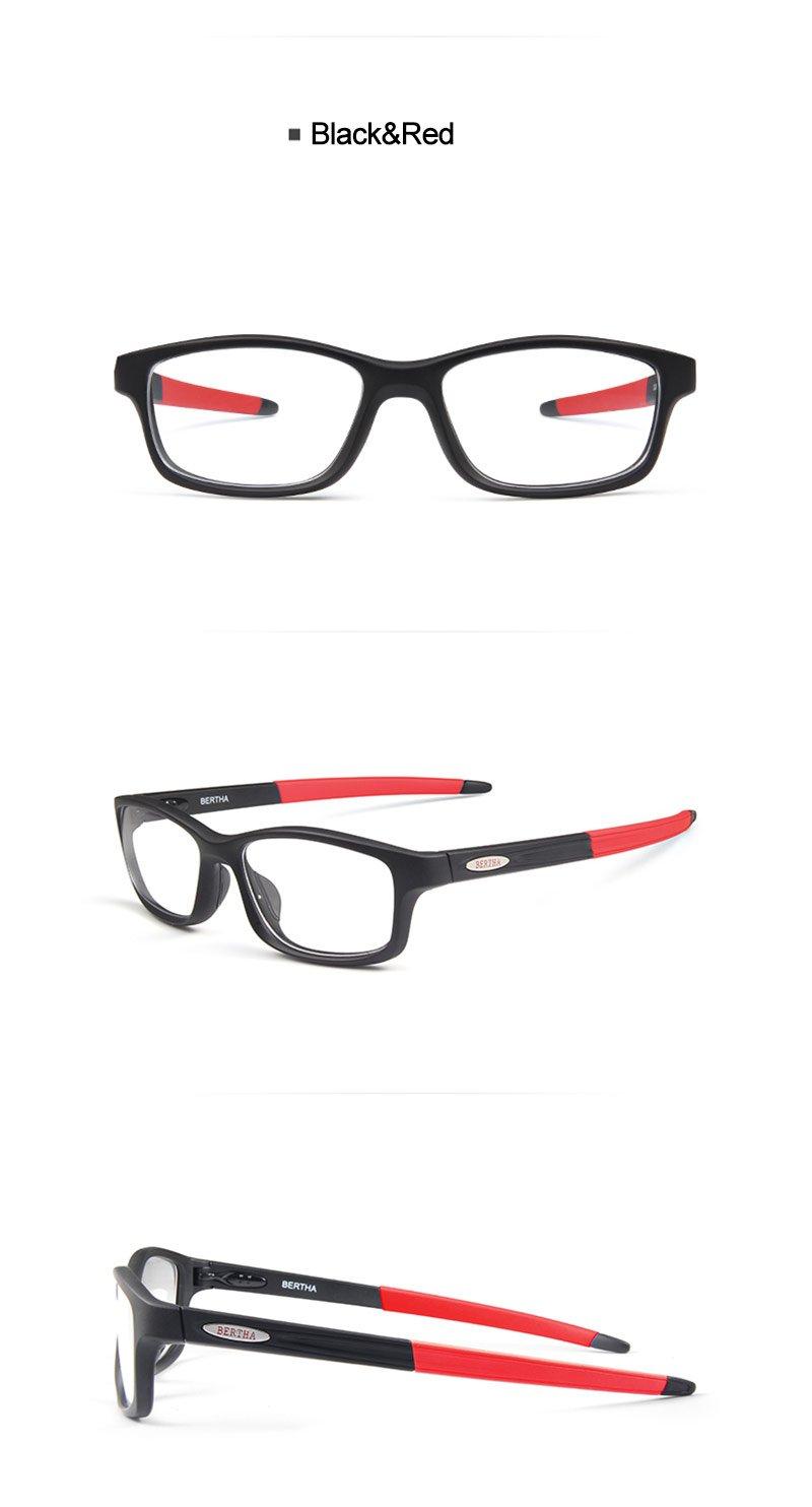 Bertha Sports Glasses Optical Protection Basketball Eyeglasses Frame Business Presription Eyewear 004 (Black&Red) by Bertha (Image #5)