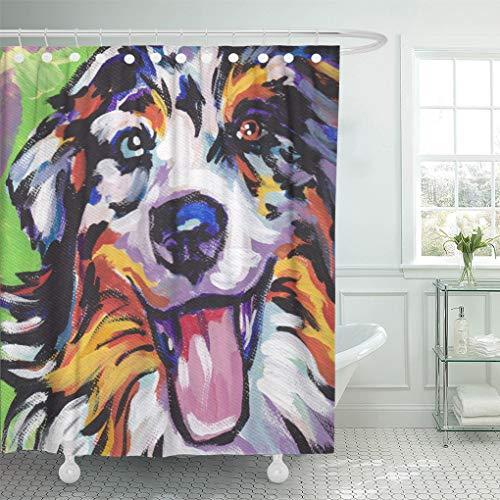 (Semtomn Shower Curtain Tags Australian Shepherd Pop on Aussie Dog Painting Portrait 72