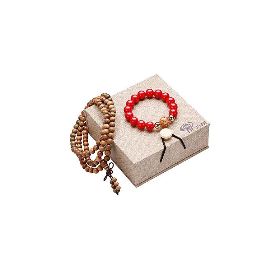 FOR RUI RUI Fashion Gift 14K Gold 9.5 10mm Round Cinnabar Bracelet with An Extra Bonus Buddha Beads