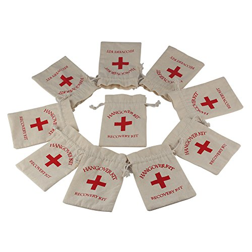 (OurWarm 50pcs Hangover Kit Bags with Red Cross Bachelorette Party Favor Bags Cotton Muslin Drawstring Recovery Kit Bags for Wedding Bachelorette Party Supplies, 4