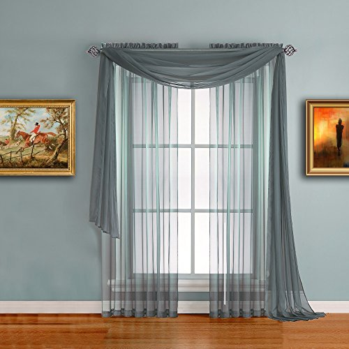Warm Home Designs Dusty Blue Sheer Window Curtains. Each Voile Drape Is 56 X 84 Inches. Great for Kitchen, Living Room, Bedroom, Kids Room or Office. 2 Fabric Panels Per Package. Color: Dusty Blue 84