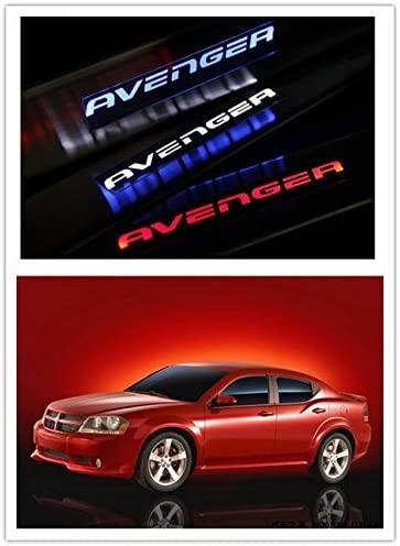 Red Illuminated LED Door Sill Scuff Plate Guard For Dodge Avenger 2008-2015